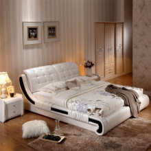 艾生活 真皮床双人床 独特围边 精细做工 卧室家具