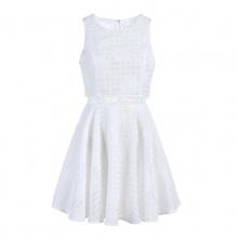 夏装新款修身假两件无袖绣花蕾丝连衣裙